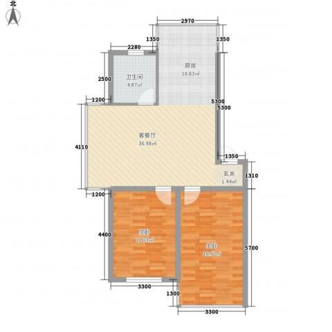 城基绿色家园2室1厅1卫0厨84.00㎡户型图