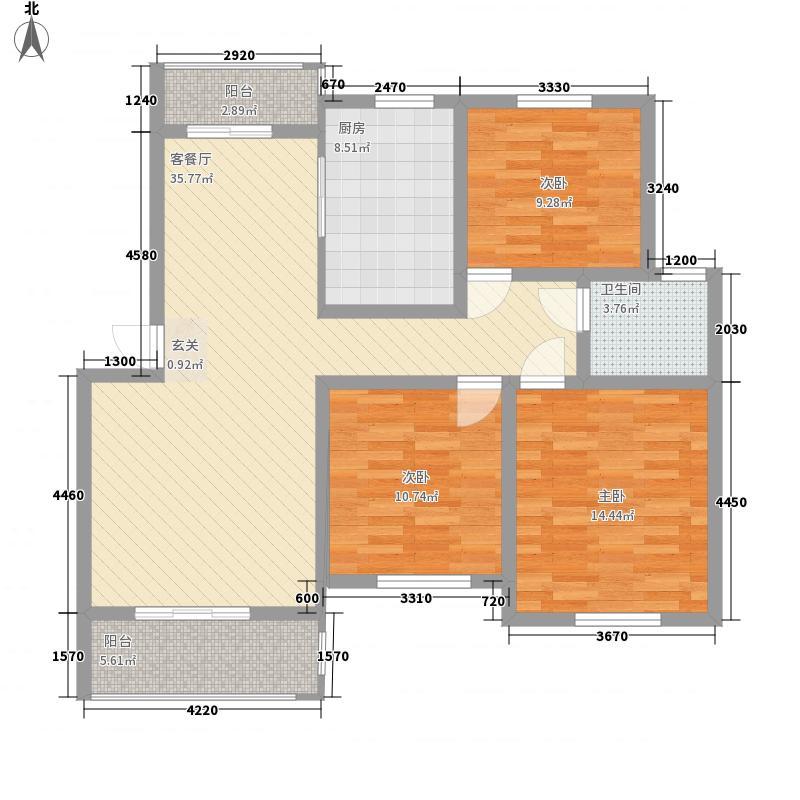 华都世纪城111.20㎡B户型3室2厅1卫1厨