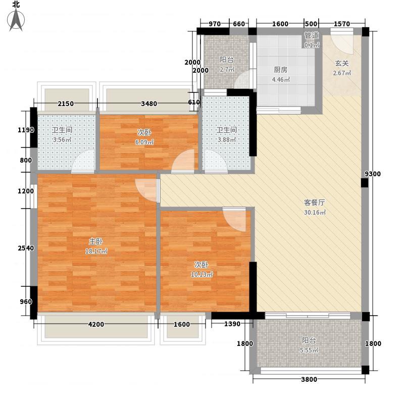 万领蓝珊郡117.40㎡2/5栋03户型3室2厅2卫1厨