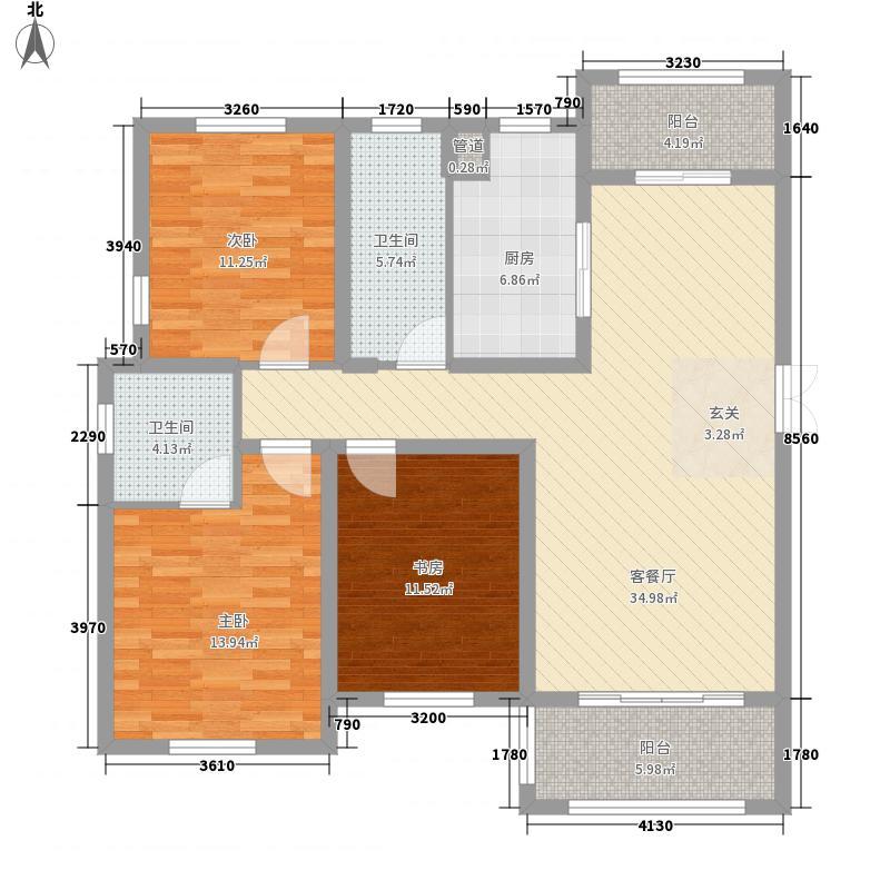 长城一品1322142.25㎡户型3室2厅2卫1厨