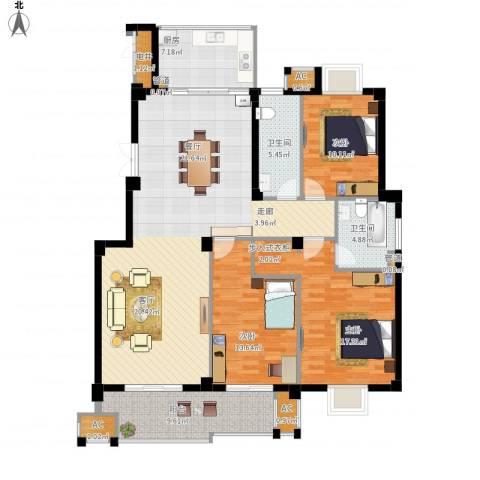 望湖公馆3室1厅2卫1厨138.00㎡户型图