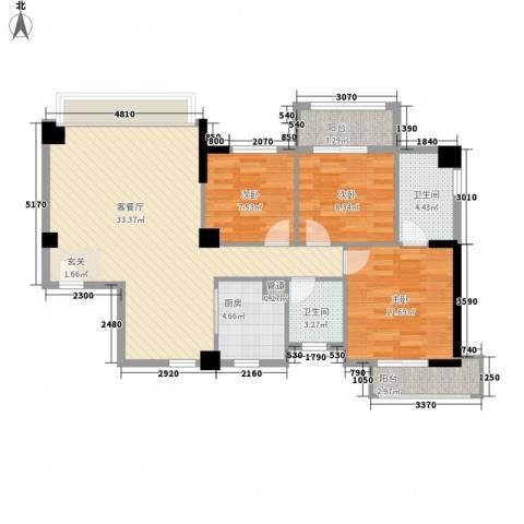永鸿御景湾3室1厅2卫1厨114.00㎡户型图