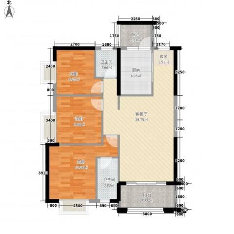 豪景苑3室1厅2卫1厨82.68㎡户型图