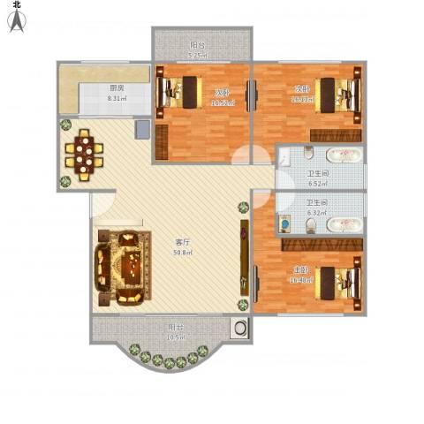 莲花花园3室1厅2卫1厨182.00㎡户型图