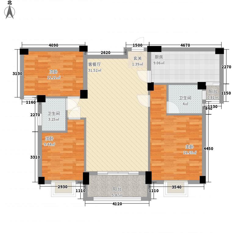 水岸名城128.65㎡B1/C1户型3室2厅2卫1厨