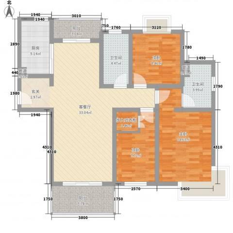 石湖华城3室1厅2卫1厨128.00㎡户型图