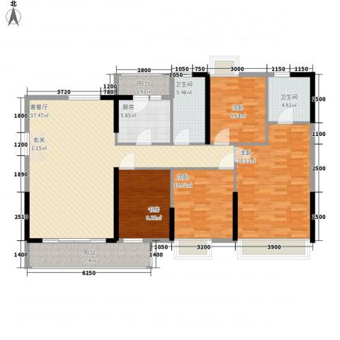 东方家园4室1厅2卫1厨142.00㎡户型图
