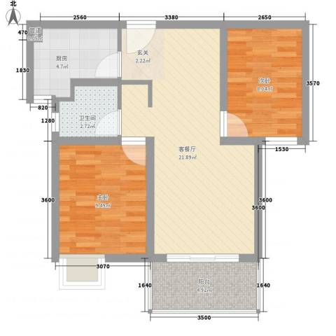 石湖华城2室1厅1卫1厨76.00㎡户型图