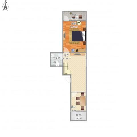 师东小区1室2厅1卫1厨69.00㎡户型图