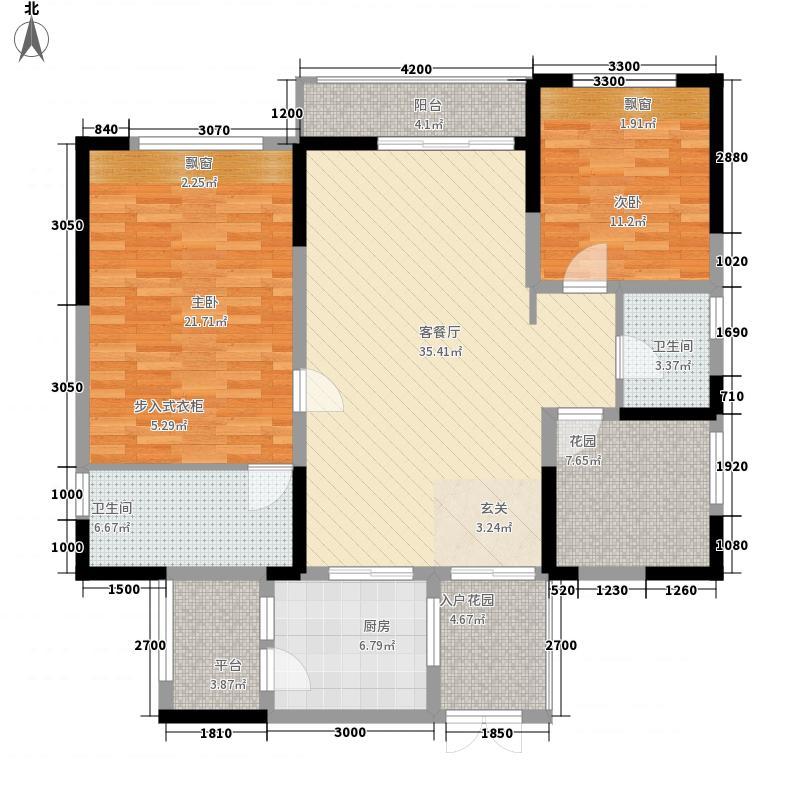 丽雅时代126.00㎡户型2室2厅2卫1厨