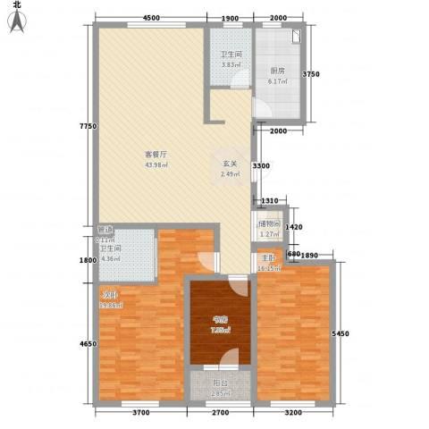 朗诗国际街区3室1厅2卫1厨148.00㎡户型图