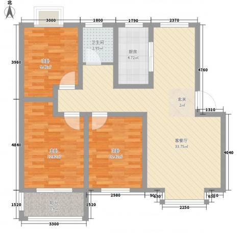 颐和家园3室1厅1卫1厨113.00㎡户型图