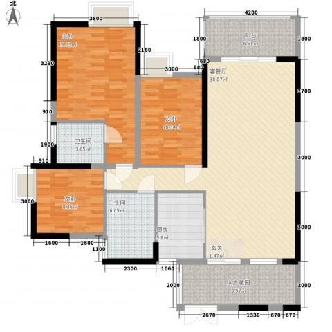 东方家园3室1厅2卫1厨104.48㎡户型图