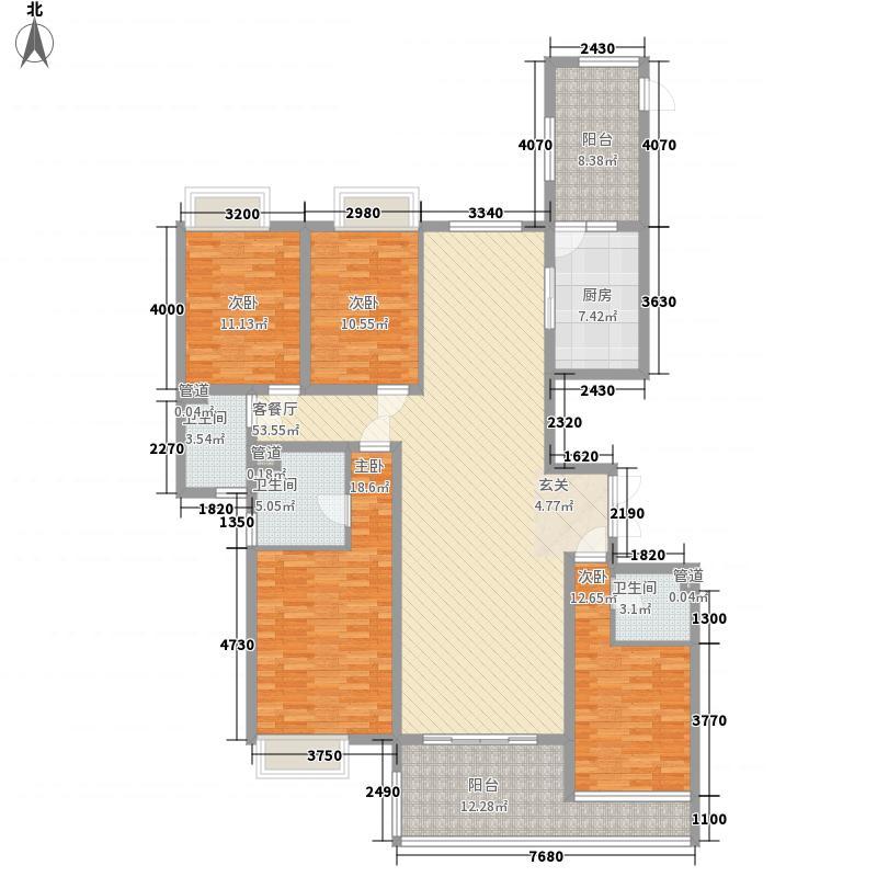华龙时代广场167.52㎡A型奇数层户型4室2厅3卫1厨