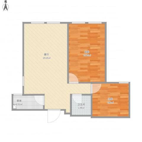 金色年华2室1厅1卫1厨68.00㎡户型图