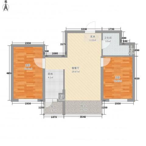 亿达帝景2室1厅1卫0厨82.00㎡户型图