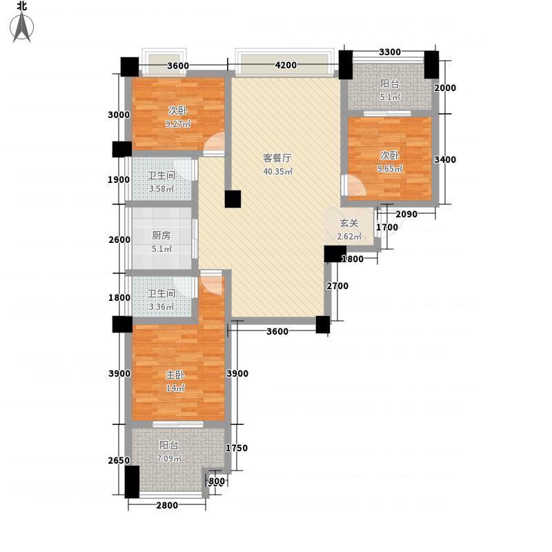 奥莱名邸126.21㎡2号栋A1户型3室2厅2卫1厨