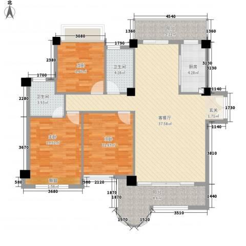 金门海景山庄3室1厅2卫1厨138.00㎡户型图