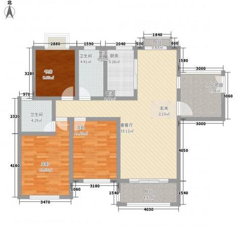 石湖华城3室1厅2卫1厨138.00㎡户型图