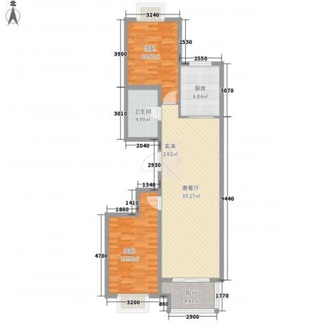嘉晟阳光城2室1厅1卫1厨76.37㎡户型图