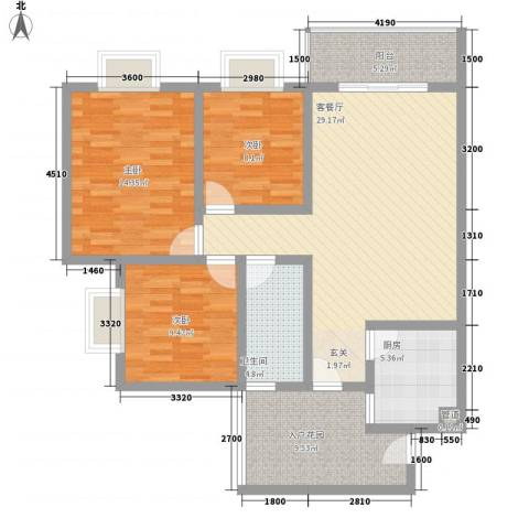 长桥郡3室1厅1卫1厨86.19㎡户型图