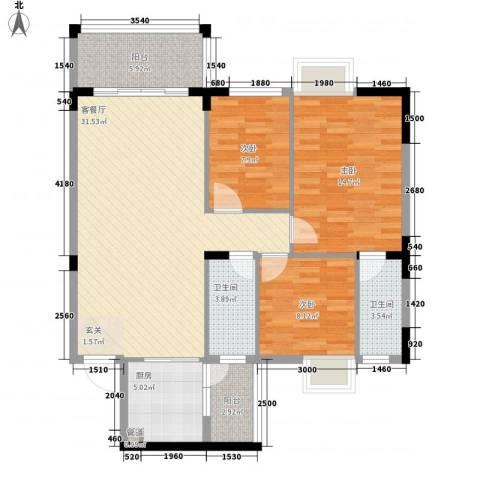 金山祥和花园3室1厅2卫1厨83.63㎡户型图