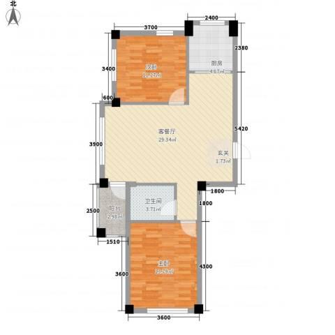 富森悠然生活2室1厅1卫1厨65.75㎡户型图