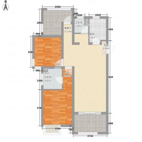 绿地香颂花园2室1厅2卫1厨112.00㎡户型图