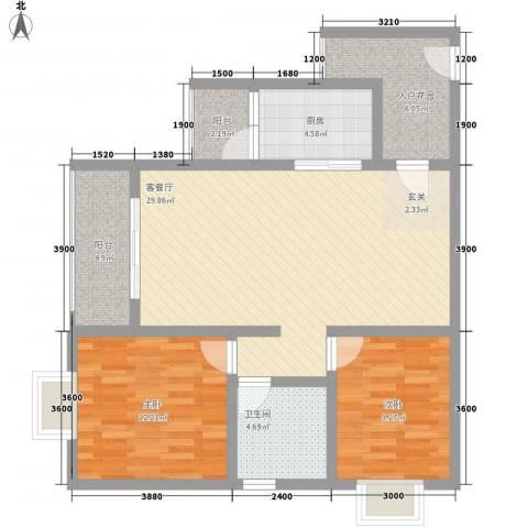 长桥郡2室1厅1卫1厨88.00㎡户型图