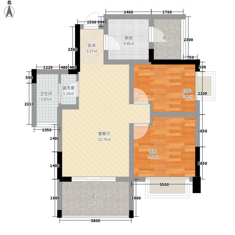 汉东豪庭3272.20㎡A3户型2室2厅1卫1厨