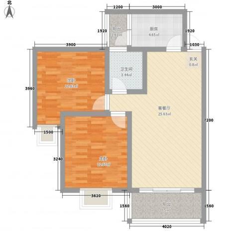 长桥郡2室1厅1卫1厨78.00㎡户型图