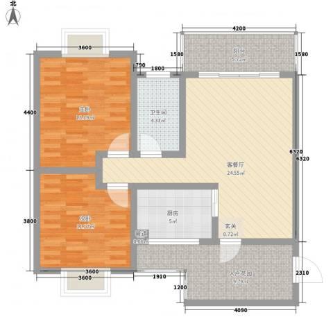 长桥郡2室1厅1卫1厨85.00㎡户型图