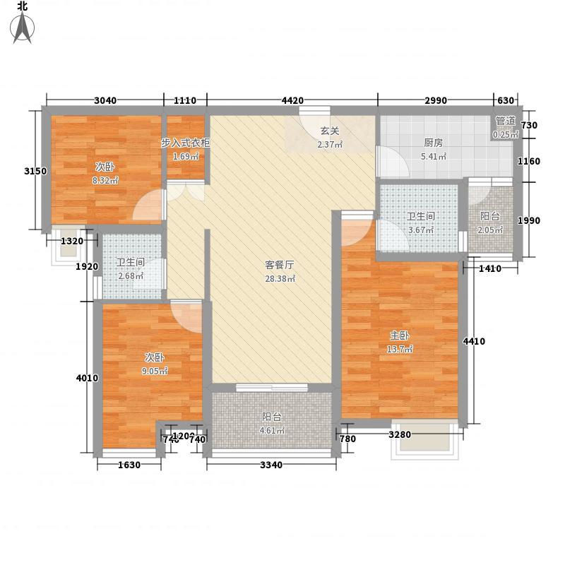 美的城115.00㎡8#户型3室2厅2卫1厨