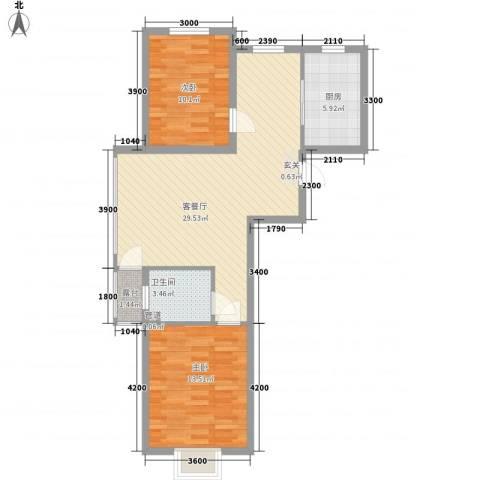 利源帝景2室1厅1卫1厨86.00㎡户型图