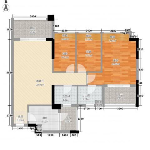 和黄懿花园3室1厅2卫1厨80.74㎡户型图