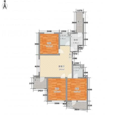 利源帝景3室1厅2卫1厨115.00㎡户型图