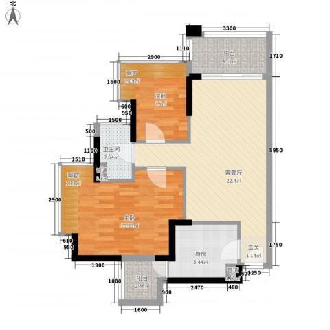 和黄懿花园2室1厅1卫1厨67.00㎡户型图