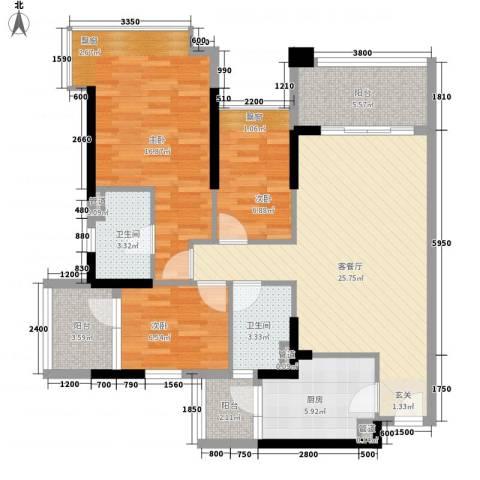 和黄懿花园3室1厅2卫1厨80.20㎡户型图