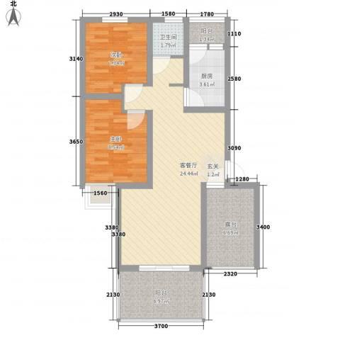 经纬宽世界2室1厅1卫1厨60.72㎡户型图