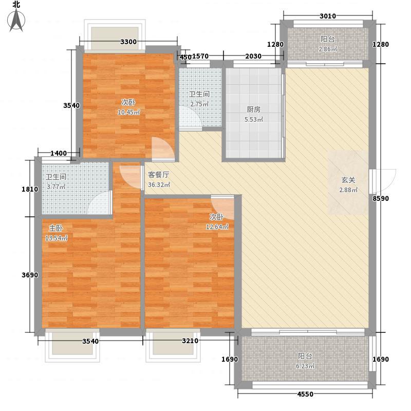 万景城11.23㎡A5栋A、B户型3室2厅2卫1厨