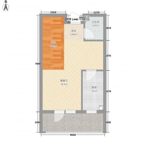 利源帝景1厅1卫1厨48.00㎡户型图