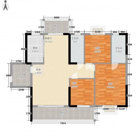 豪景苑3室1厅2卫1厨106.90㎡户型图
