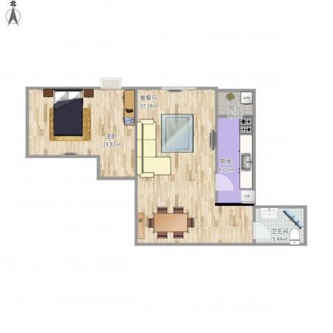 富力城D区1室1厅1卫1厨73.00㎡户型图