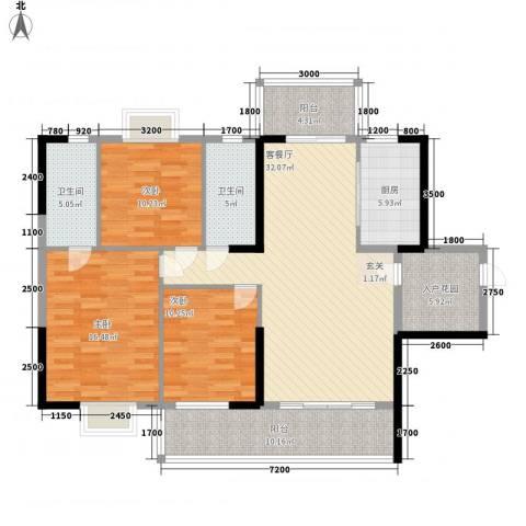 豪景苑3室1厅2卫1厨105.41㎡户型图