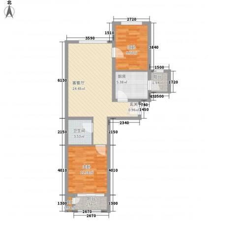 仁泰里2室1厅1卫1厨58.65㎡户型图