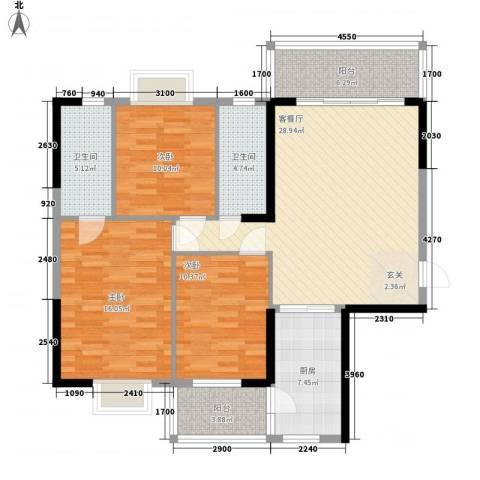 豪景苑3室1厅2卫1厨117.00㎡户型图