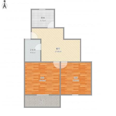 龙柏二村2室1厅1卫1厨87.00㎡户型图