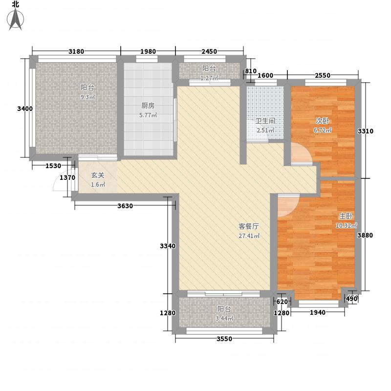 兰雅・星河湾7.80㎡C2户型2室2厅1卫1厨
