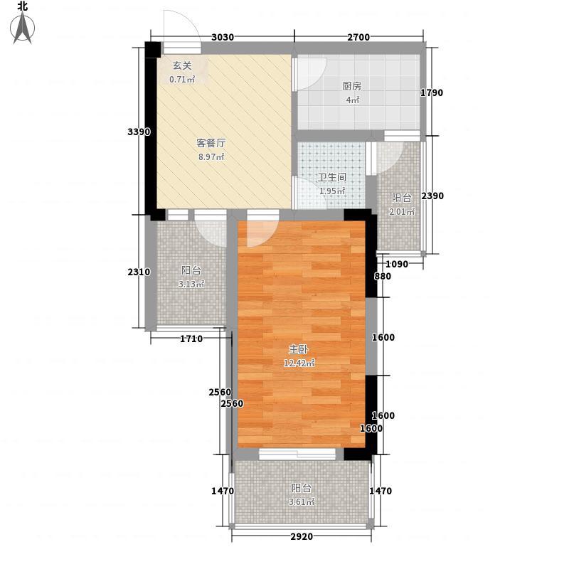 常绿林溪谷53.45㎡D2户型1室1厅1卫1厨