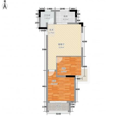 钟鼎雅居项目2室1厅1卫1厨80.00㎡户型图